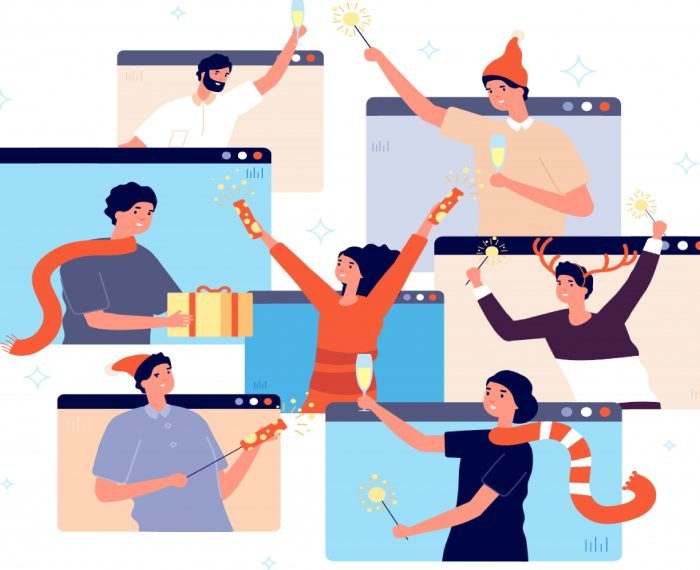 Christmas online party. People celebrating new year, happy friends on video chat. Man woman with champagne confetti gift vector illustration. Online party celebration, people call and celebrate