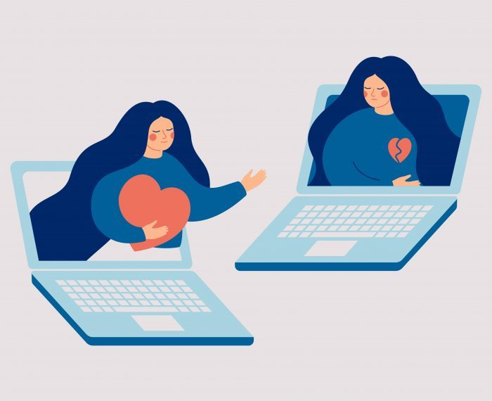 Online therapy and counseling for people who lose their love or divorce. Psychologist supports Sad woman with a broken heart. Mental health vector concept.